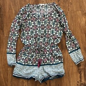 Umgee USA Long Sleeve Romper Multi Small Cinched